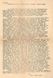 Der Nachruf von Pfarrer Georg Merz, Freund von Albert Lempp und ehemaliger Cheflektor des Christian-Kaiser-Verlags, nach Lempps Tod an die Verlagsmitarbeiter aus dem Jahr 1943.