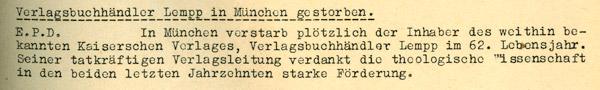 Nachricht vom Tode Albert Lempps im Evangelischen Pressedienst Schweiz (Zürich) vom 28. Juli 1943.